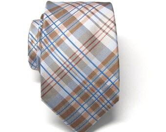 Mens Ties. Tan Beige Blue Plaid Mens Narrow Necktie