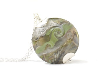 Olive Green Necklace | Moss Green and Grey Pendant Necklace | OOAK Handmade Lampwork Glass Necklace with Sterling Silver