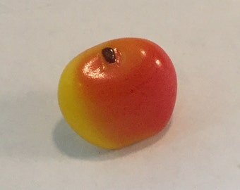 Vintage Glass  Button - Hand Painted Yellow & Red Apple Fruit