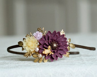 Purple, light lilac, ivory and gold flower headband