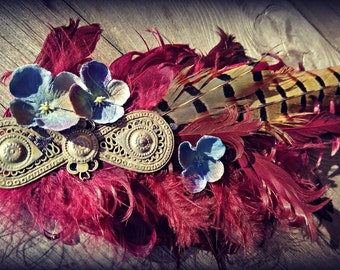 Plum Magpie Special - Fae ATS or Tribal Fusion Belly Dance Hair Clip
