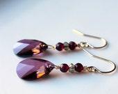 Purple Crystal Earrings / Swarovski Crystal in Lilac Shadow / Garnet Gemstone Crystal / 14K gold fill earrings / Purple Delicate Earrings