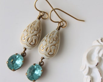 Boho Chic Teardrop Earrings / White and Gold with Vintage Rhinestones in Aqua /Aqua Rhinestone Bohemian Earrings / Dangle Earrings