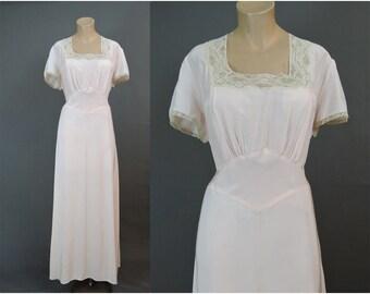 1940s XL Rayon Nightgown 42 Bust, Vintage 40s Artemis Pale Pink Rayon Plus Size Lingerie