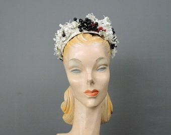 Vintage Hat White Straw with Black Berries & White Flowers, Renee Philadelphia, 1950s