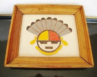 vintage sand painting  native american sand art great god spirit regis of new mexico