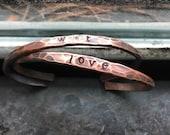 Custom Initial Bracelets Hammered Initial Cuff Bracelets Love Bracelet Valentines Jewelry Custom Jewelry DanielleRoseBean Stamped Bracelet