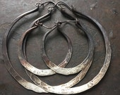 Sterling Silver Hoop Earrings / Silver Hoops / ombre Jewelry / Sterling Hoops / Rustic Jewelry / DanielleRoseBean / Large Hoops Cyber Monday