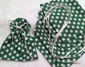 Mini Gift Bags, Ribbon Tied Pouch, Polka Dots, Pack of 6, Cotton Fabric Pouch, Christmas, Birthday