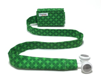 Green leaf pattern TuneTube.  Earbud cord organizer for iPhone or iPod.  Cord keeper.  Earbud holder.  Earbud case.