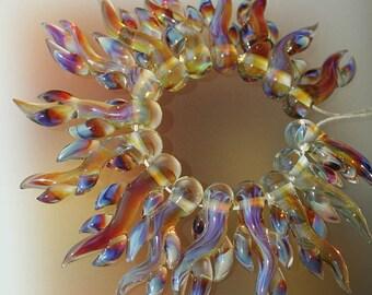 Smoky Amber Corals - Handmade Lampwork Glass Beads (SRA)