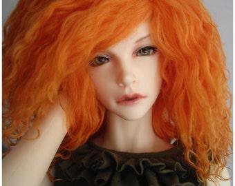"""Carrot tibetan mohair wig for bjd 8"""" imda3.0 and smaller sd head size"""