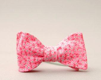 neon pink floral bow tie  //  unisex self tie bow tie  // rad freestyle bow tie