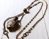 Antique Roses Perfume Bottle Necklace