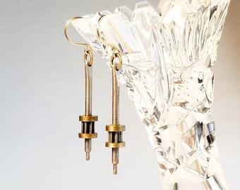 Vintage Clock Gear Earrings // Short