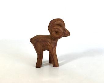 Hand Carved Wood Ram Figure