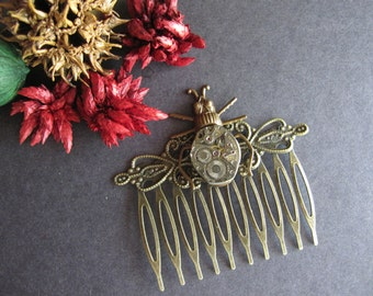 Beetle Hair Comb, Steampunk Hair Comb, Bug, Vintage Inspired, Goth Scarab, Victorian Beetle, Woodland Bug, Insect, Nature, Watch Parts