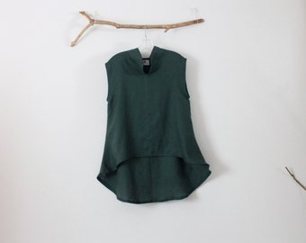 ready to wear Size M emerald  linen wavy top
