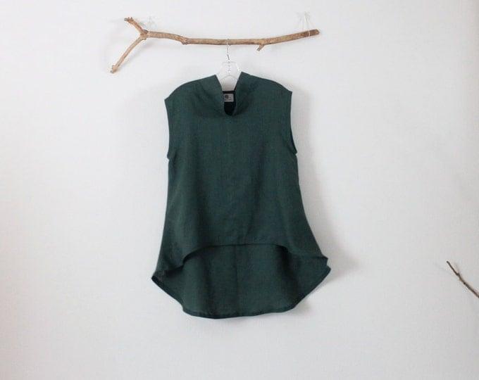 ready to wear Size M emerald  linen wavy top
