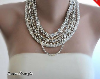 Sale - Bride Necklace Chunky Layered Necklace with Rhinestones