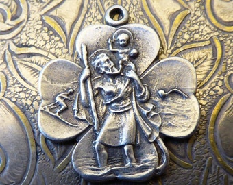 VERY RARE Silver Saint Christopher Medal, Vintage 1920's Good Luck For Leaf Clover, Swimmer Skier, Protector Of Travelers Protect & Guide Us