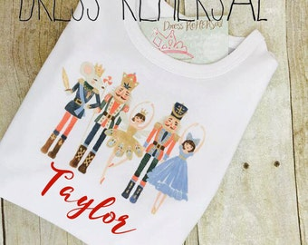 Nutcracker Ballet shirt personalized with name for little girls