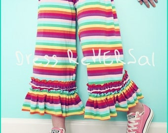 Rainbow stripe knit double ruffle capris
