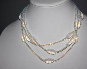 Vintage Deco Moonstone Opalescent  Glass 3 Strand Necklace