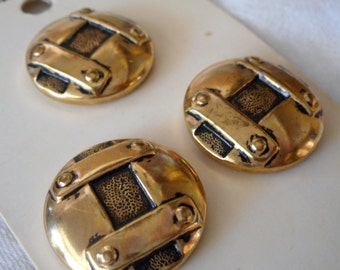 Set of 3 VINTAGE Gold Metal Imitation Riveted BUTTONS