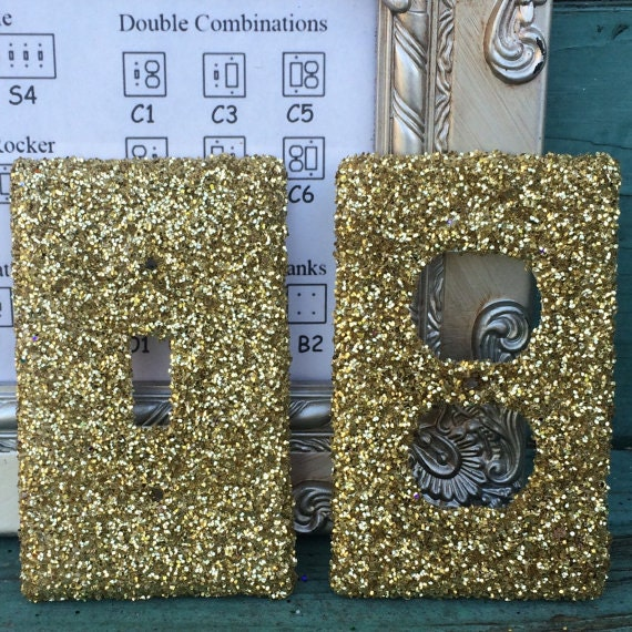 Gold Glitter  Bar Glitz Glamour Switchplate Outlet Double Triple Quad Rocker Blank Cable Dimmer