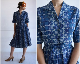 Vintage 50's Cotton Blue and Gray Circle and Square Novelty Patterned Shirt-Waist Day Dress by Hope Reed | XS/Small