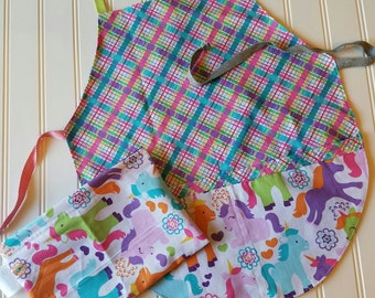 Kids-Aprons-Unicorn-Ranibow-Plaid-Chef-Art-Cooking-Kitchen-Baking-Play-Dough-Garden-Back-To-School-Smocks-Holiday-Birthday-Toddler-Gifts