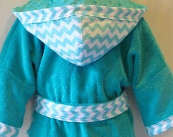 Boys-Bath-Robes-Boy-Robe-Aqua-Blue-Chevron-Bathrobes-Childrens-Beach-Hooded-Swim-Suit-Terry-Cover Up-Baby-Toddler-Kids-Gift