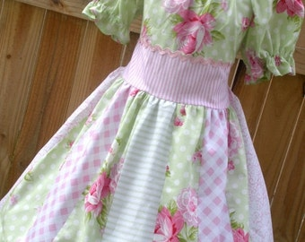 ON SALE Ready to Ship Custom Boutique Shabby Chic Tanya Whelan Girl Dress Spring Flowers Size 5 or 6