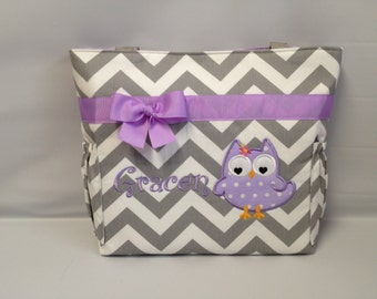 CHEVRON  in Gray .. .. Girly OWL  ... Lavender Purple Accents  ...   Diaper Bag ... Monogrammed  FReE