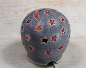 Starry Nights Night Light - Nursery and Home Decor - Handcarved Sculptural Decor - Nursery Light - Moon and Stars Night Lamp