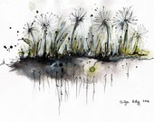 Ink painting on canvas A4 (11,6x8,3in) - abstract flowerbed - dandelions