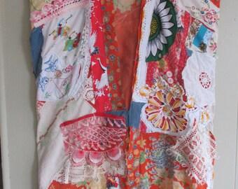 altered vintage kimono GEISHA PATCHWORK  Couture - Antique Fabric -Vintage Linens Fabric Collage - Japanese Wearable Folk Art- mybonny