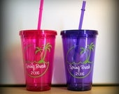 Spring Break or Vacation Palm Tree Personalized tumbler-great for beach vacations, spring break, bachelorette parties, girls weekends away..