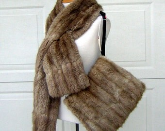 Real Fur Stole Wrap& Muff Set Vintage Possibly Mink Lovely Color and Condition Plush Warm