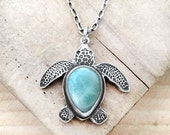 Sea turtle necklace, silver sea turtle jewelry, Larimar sea turtle necklace, Hawaii, Hawaii Wedding, Hawaii Anniversary, Honu, Maui