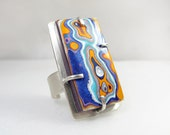 Fordite ring, fordite jewelry, adjustable ring, gift for her, gift for wife, Detroit Agate, cocktail ring, sterling silver statement ring