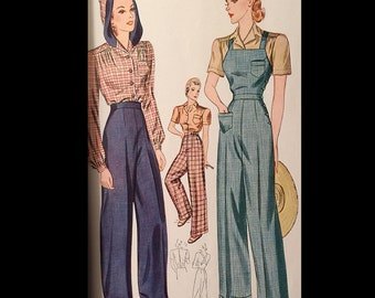 Vintage 40s Rosie the Riveter Criss Cross Overalls Trousers Shirred Blouse Factory Girl Sewing Pattern B36 3322