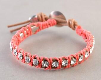 Wrap Bracelet, Swarovski Crystal Leather Bracelet, Coral Natural Leather Bracelet