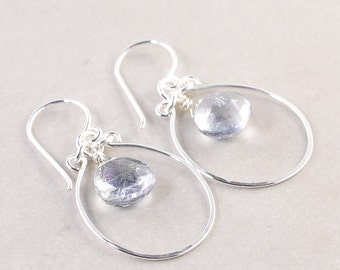 Gray Hoop Earrings, Silver Hoop Earrings, Quartz, Neutral