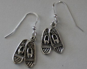 Sterling Silver SNOWSHOE Earrings - 3D - Wintersports