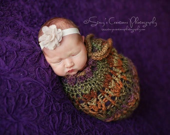 Crochet Baby Cocoon, Baby Swaddle Sack, Infant, Baby Girl Cocoon, Baby Cacoon, Newborn Cocoon, Baby Flower Headband, Newborn Photo Prop,