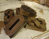 Vintage Shabby Letter Wooden Blocks Ink Print