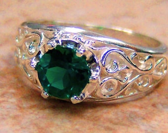 Lab Created Emerald Sterling Silver Filigree Ring, Cavalier Creations