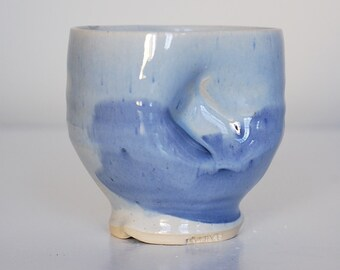 indented blue yunomi
